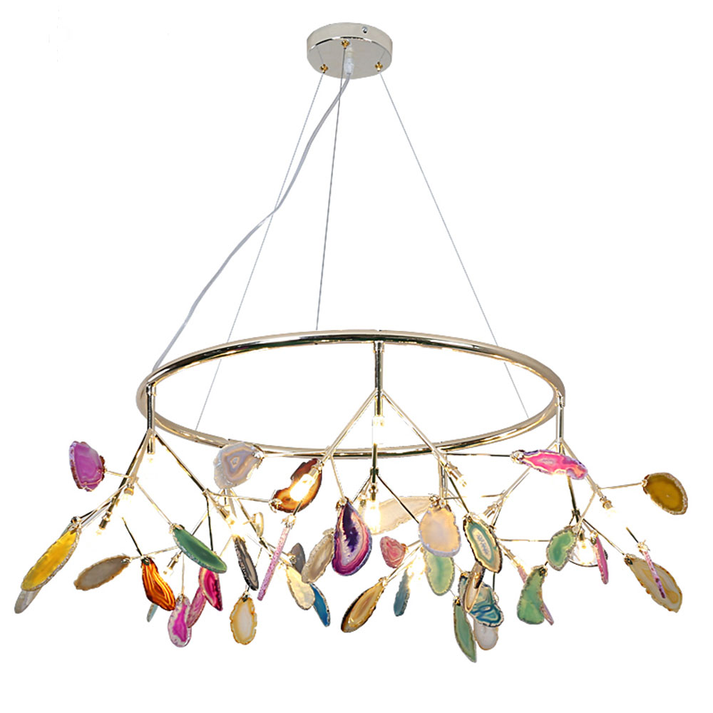 Creative Colorful Agate Firefly Chandelier G4 Luminaria Led Chandelier Lustre Chandelier Lighting Lamparas For Dining RoomCreative Colorful Agate Firefly Chandelier G4 Luminaria Led Chandelier Lustre Chandelier Lighting Lamparas For Dining Room
