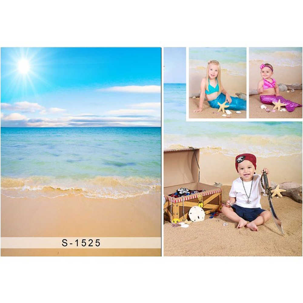AOFOTO 3x5ft Baby Photography Background Infant Photo Shoot Backdrops Holiday Seaside Beach Chair Clear Sea Blue Sky Kid Child Artistic Portrait Vacation Scene Studio Props Video Digital