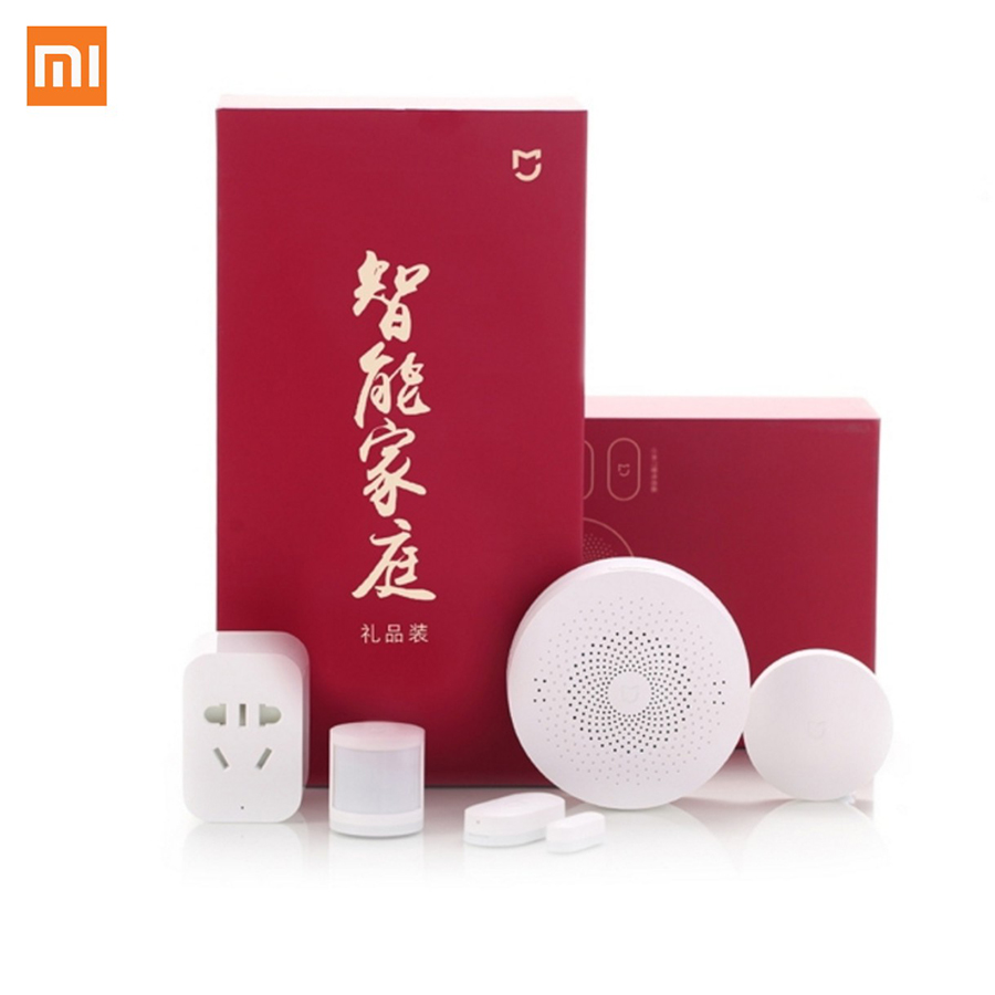 Xiaomi Gift Box 5 IN 1 Smart Home Kit Gateway Door Window Sensor Human Body Sensor Wireless Switch Zigbee Socket Sets