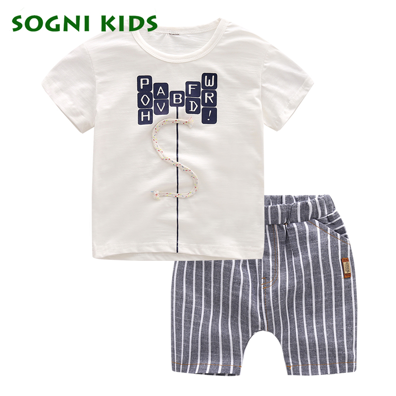 SOGNI KIDS Summer Baby Boys Clothes Casual Children Clothes Toddler Clothing Set Letter Cotton short sleeves