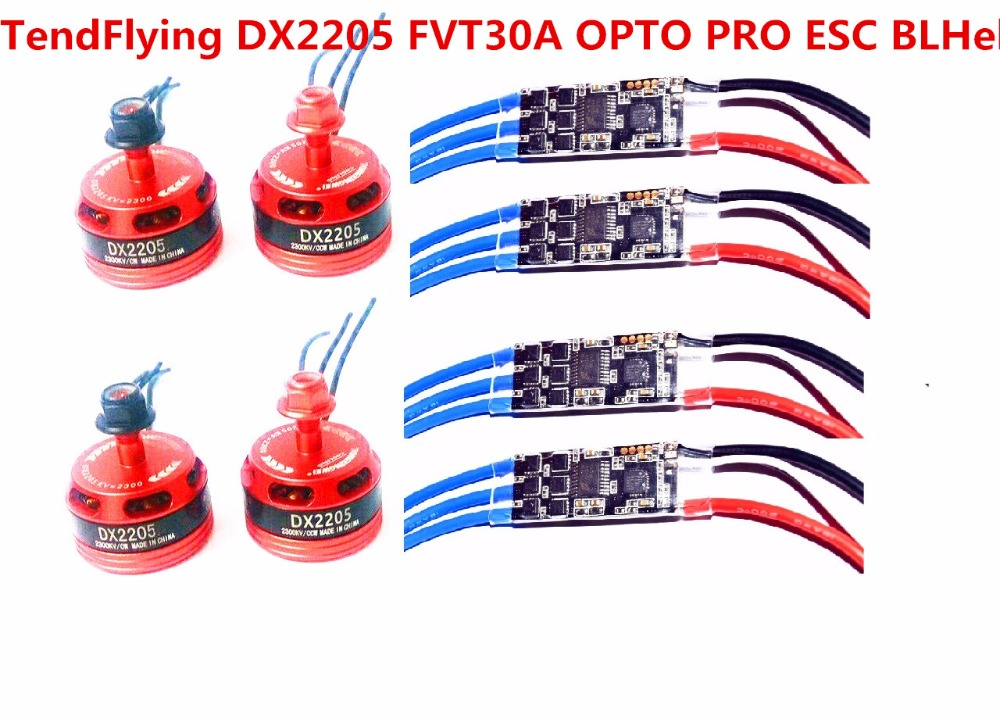 FVT TF 30A OPTO PRO ESC BLHeli Supports OneShot125 +4pcs TendFlying DX2205 <font><b>BR2205</b></font> 2300KV For RC Helicopter Quadcopter image