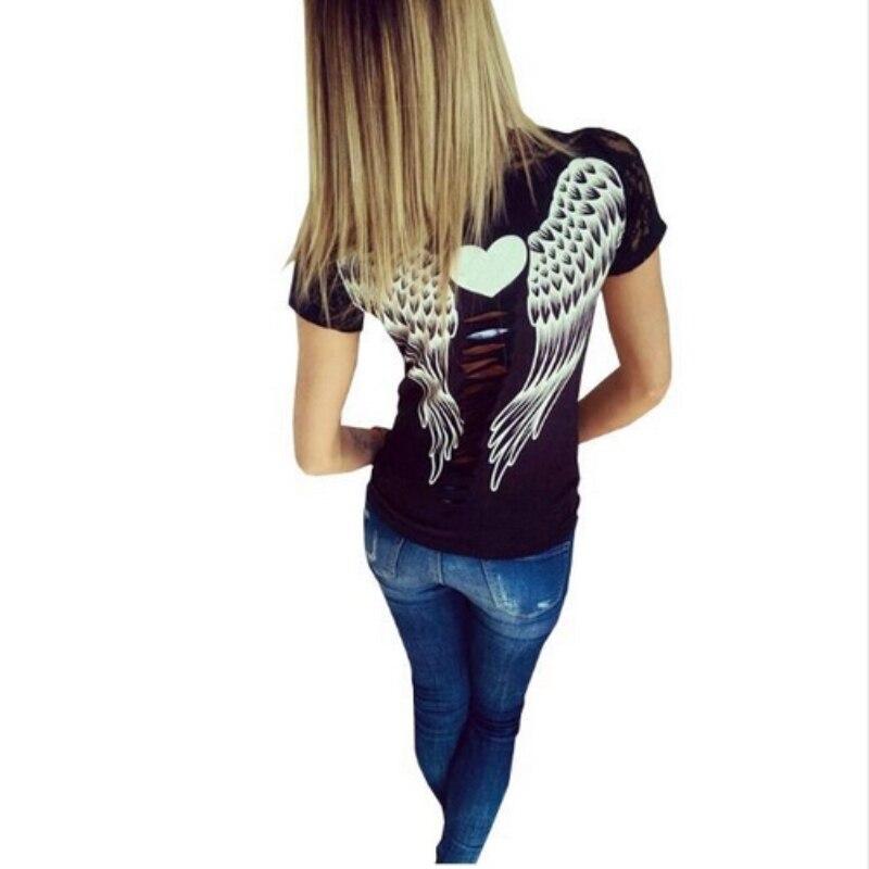 Camiseta de las mujeres alas de ángel volver huecos tops estilo de encaje de man