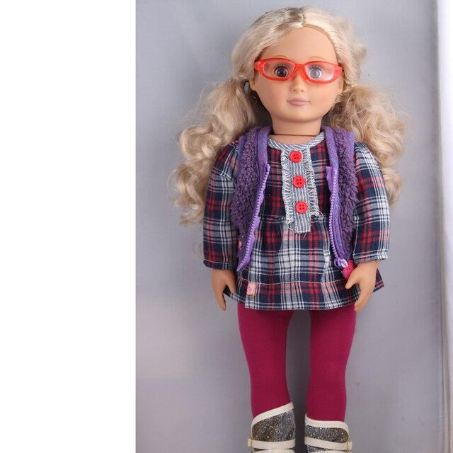 1 sunglasses ,1 dress, 1 pair of leggings ,1 pair of boots American Girl Doll Clothes Children Best Chrismas Gift AG691