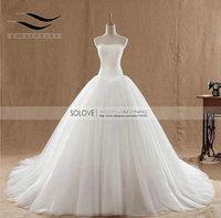 Vestidos de Noivas 2017 Branco Marfim A Linha de Vestidos de Casamento rendas Vestidos de Noiva Lace up Voltar Tribunal Trem Custom Made SL-W335