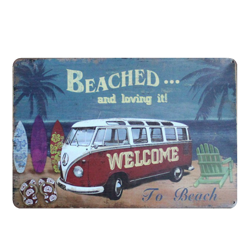 Beach Vintage Metal Tin Signs Bar Garage Decorative Metal Plates Bus Motorcycle Wall Stickers Route 66 Art Painting N188 in Plaques Signs from Home Garden