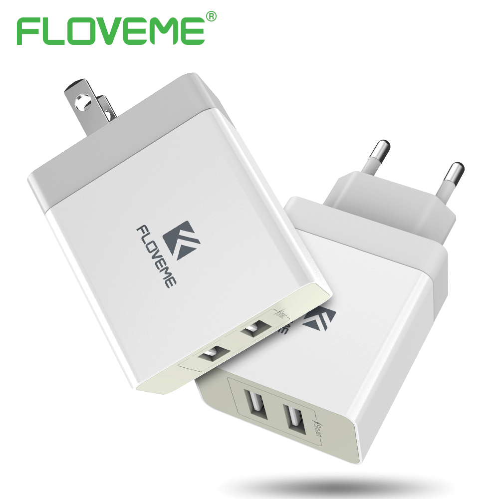 FLOVEM 5V 3.4A Smart Mobile Phone Charger For iPhone 8 X 6 7 EU US Plug 2 Ports Fast Travel Smart USB Charger Adapter For iPad