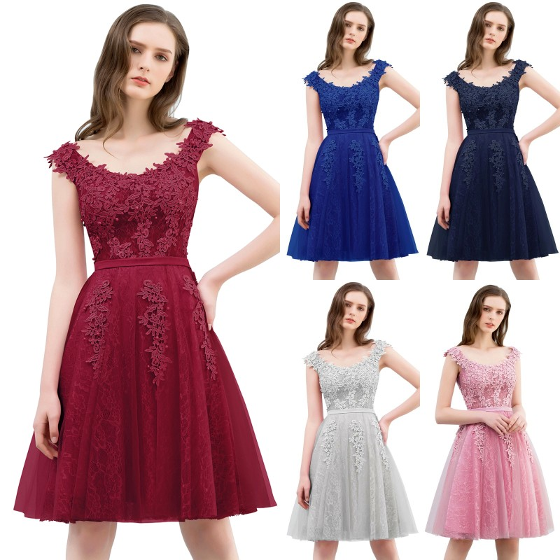 2019 Burgundy Pink Tulle Short   Bridesmaid     Dresses   Applique Pearl Wedding Party Gown vestido