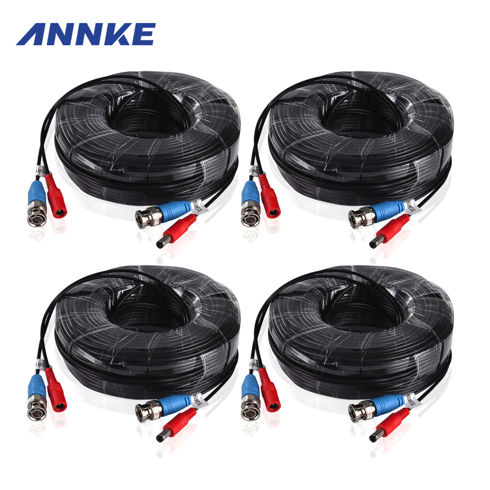 ANNKE 4PCS a Lot 30M 100 Feet CCTV BNC Video Power Cable For CCTV AHD Camera DVR Security System Black Surveillance Accessories mool 100 feet pre made siamese bnc video and power cable ready to go for security camera cctv systems