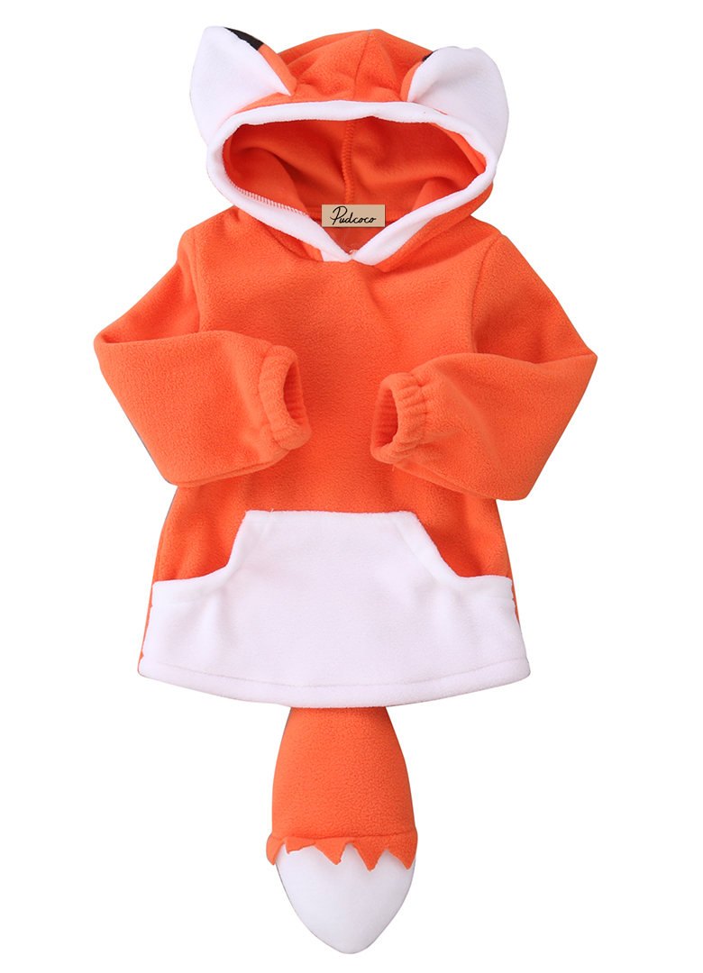 Cute Baby Kids Boys Girs Autumn Winter Jacket Coats Orange Gray Cartoon Fox Wolf 3D Ears Tail Hooded Jacket Tops Outfit Clothes