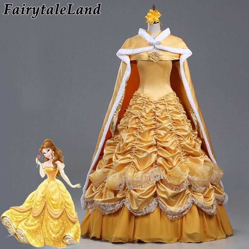 Belle et la bête déguisement fantaisie Halloween princesse Costumes pour femmes Cosplay robe jaune Belle tenue Cape fantaisie Cape