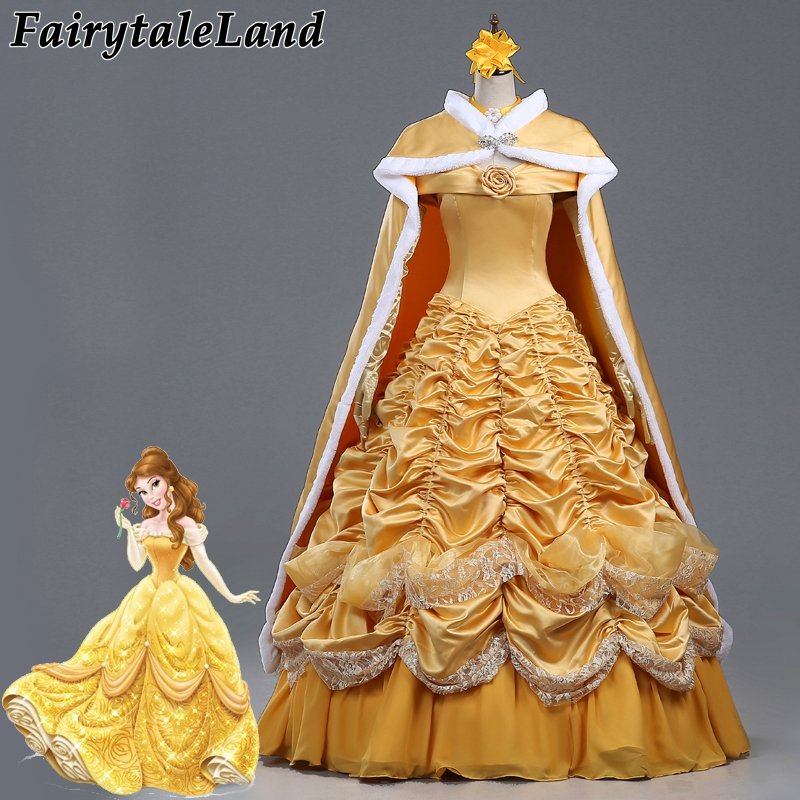 где купить Beauty and the Beast costume fancy Halloween costumes for women Princess Belle cosplay costume yellow Belle dress costume cloak по лучшей цене