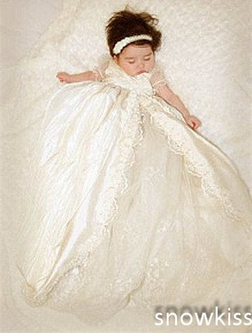 9dd0d1297 Vintage Short Sleeves Lace Silk Toddlers Christening Gown Baptism ...