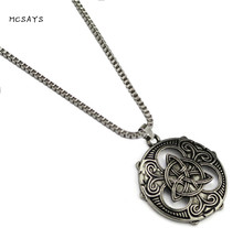 MCSAYS Norse Viking Jewelry Ireland Amulet Odin Knot Round Pendant Punk Alloy Necklace Mens Fashion Dope Viking Necklace 1SL