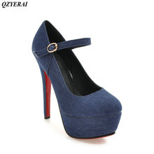 QZYERAI New spring and summer fine and women's single shoes high heels denim material production womens shoes fashion sexy