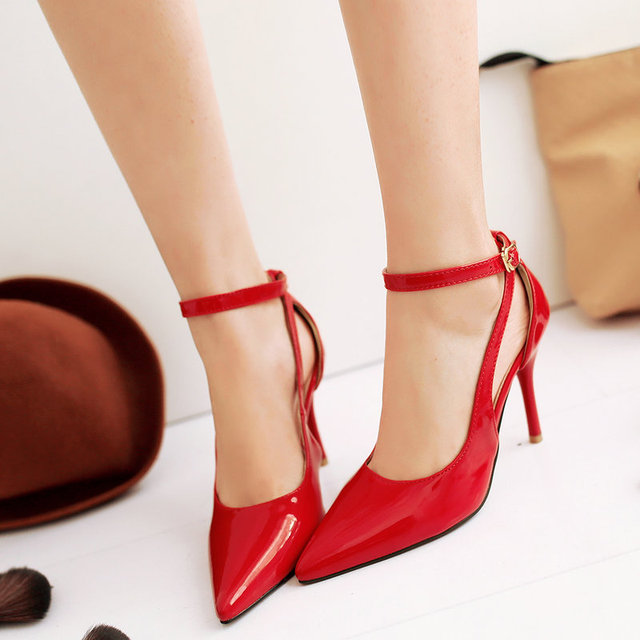 Spring Patent Leather Sexy Pointed Toe Thin Heel Pumps Ankle-strap Ladies Office Shoes Large Size 34-43