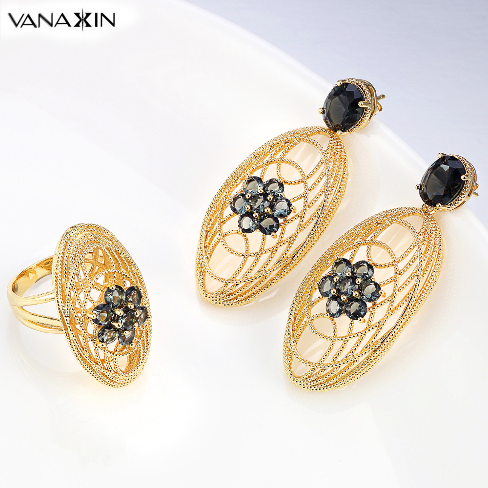 VANAXIN Trendy Women Jewelry Sets Black Stones Gold Rose Color Oval Earrings Rings for Female Fashion