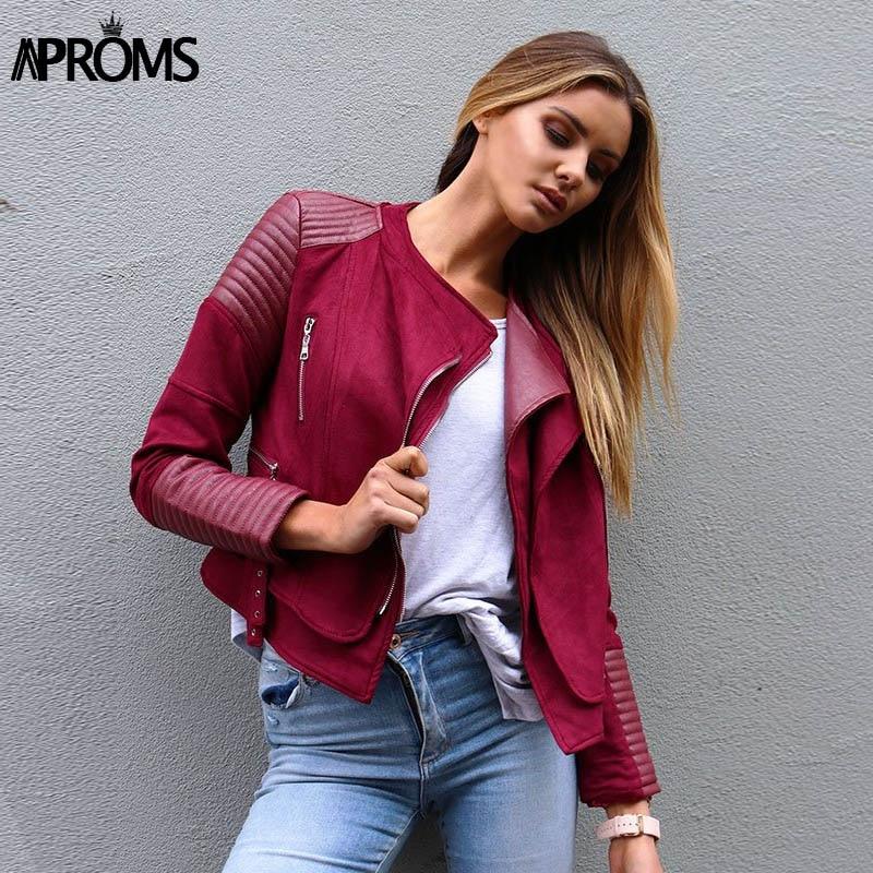 Aproms Faux Pu Leather Suede Patchwork LUXE Blue Casual Coats Zipper   Basic     Jacket   Autumn Winter Women 2018 Side Buckles Outwear