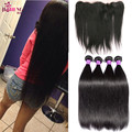 New Star Brazilian Virgin Hair Straight 4 Bundles With Frontal 7A Straight Hair Lace Frontal Closure With Bundles free part