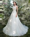 Dreagel Romantic Princess Backless Sashes A-line Wedding Dresses 2016 O-neck Appliques Beaded Bridal Dresses Vestidos de Noiva