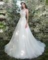 Dreagel Romantic Princess Backless Sashes A-line Wedding Dresses 2016 O-neck Appliques Beaded Bridal Dresses Vestidos de Noiva