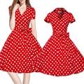 Women Dress Retro 1950s 60s Rockabilly Red Polka Dot Vintage Dress Plus Size XXL V neck Elegant Bow-knot Lolita Dresses Vestido