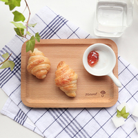 Four Colors Logo beech wooden wood tray rectangle Japanese Food tray wood serving tray home storage organization food/tea tray