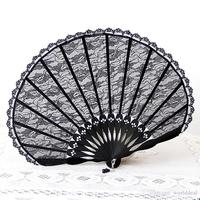 Fashion Ladies Shell Design Black Lace Fan Folding Handfan Dace Party Favor H127