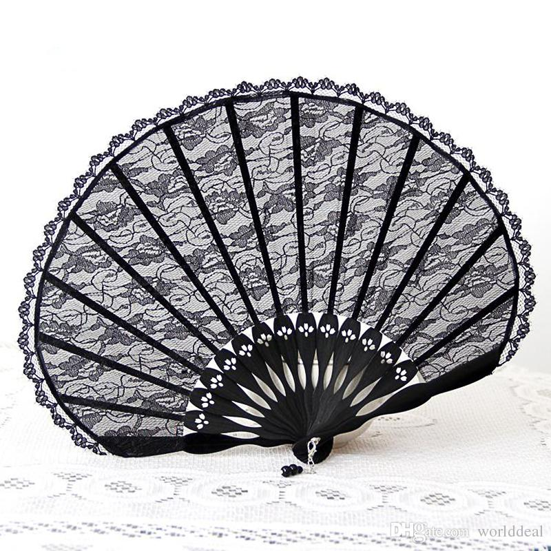 Lace Fan Hand Held Fans Black Folding Handfan Fashion Ladies Dance - Semester och fester