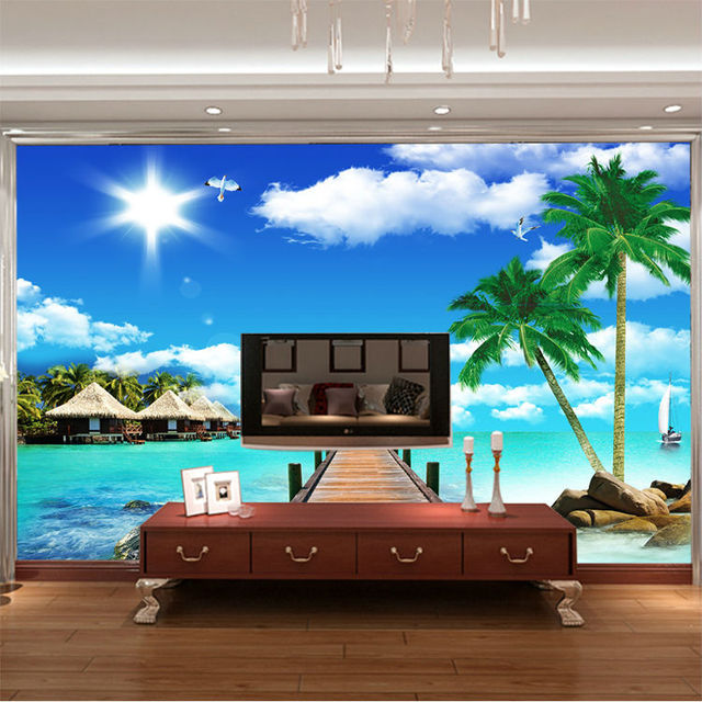 Ocean Scenery Coconut Photo Wallpaper 3D Seascape Wall Mural Custom  Wallpaper Designer Murals Kids Room Decor