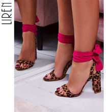 Liren 2019 New Fashion Women Sandals Suede Leopard Print Shoes Sexy Ribbon Square High Heel Cross-tied Bow Design Sandals Shoes