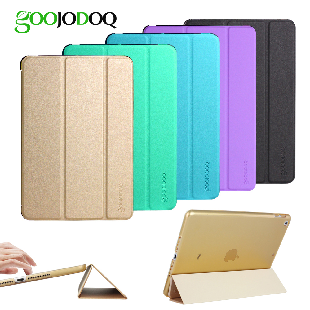 For iPad 2018 Case 9.7, Light PU Leather + Transparent PC Hard Back Smart Cover for ipad 2017 case 9.7 2018 Case A1893 A1954