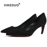 Vikeduo 2018 New Women Shoes High Heels Black Suede Handmade Pumps Wedding Party Office Summer Shoe Genuine Leather Sapato Mujer