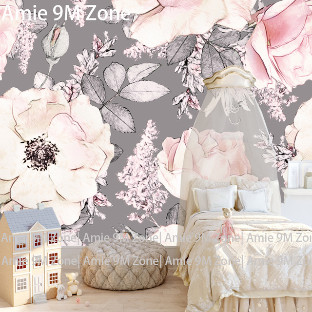 Tuya Art Mural Wallpapers White Pink Grey Floral Pattern For The Bedroom  Kidu0027s Room Wallpaper Decoration Large Size