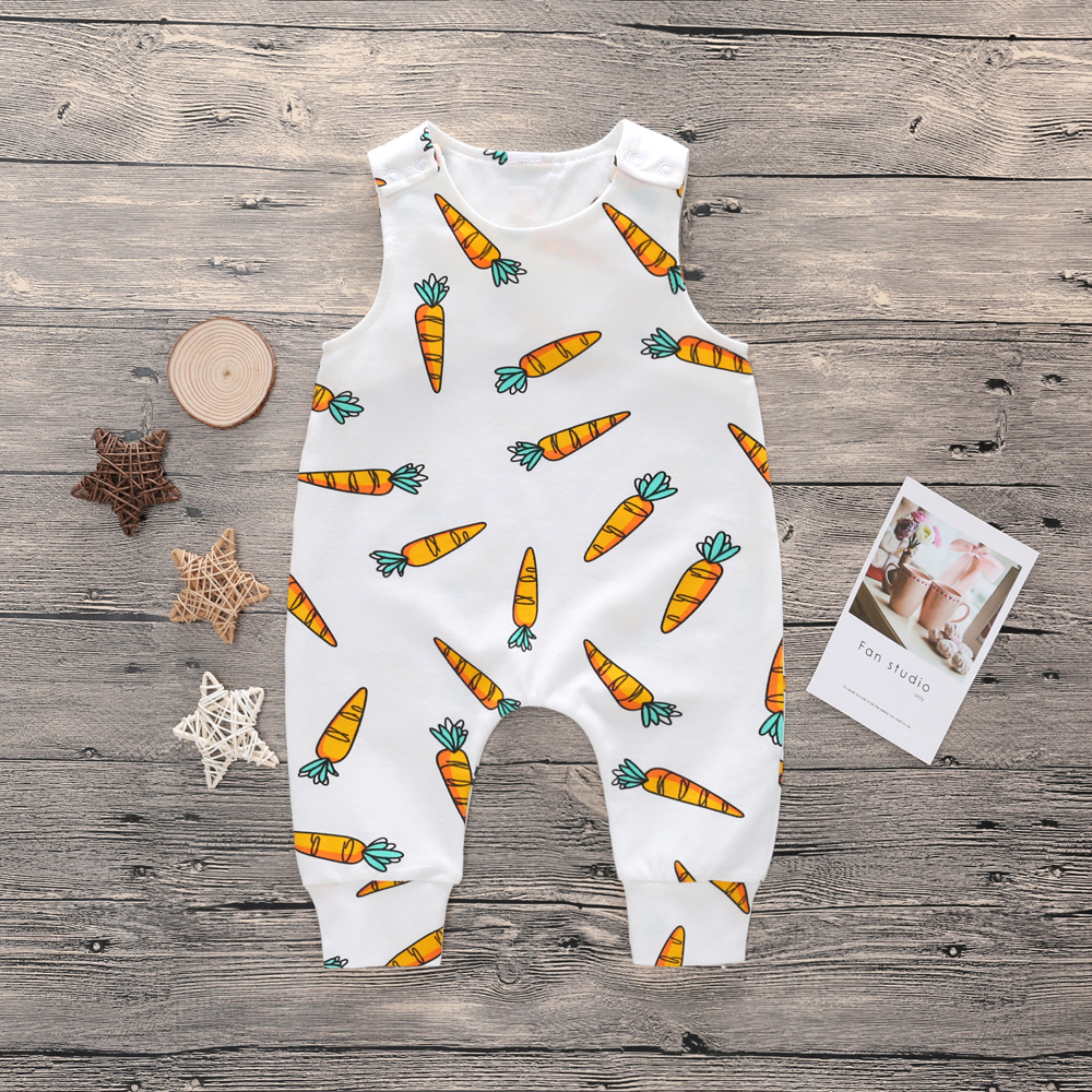 0-24M Baby Boy   Romper   Toddler Girl   Rompers   Clothing Cotton Newborn Clothes Summer White Jumpsuit Infant Carrot Cartoon Playsuit