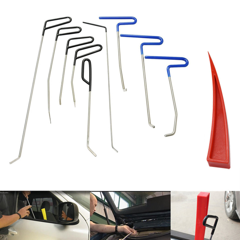 PDR Hooks Tools Push Rods Dent Removal Car Dent Repair Car Body Repair Kit Paintless Dent Repair red wedge Tools Set pdr hook tools 30 pcs push rods dent removal tools paintless dent repair tools car body repair kit 13 blue 8 green 9 red