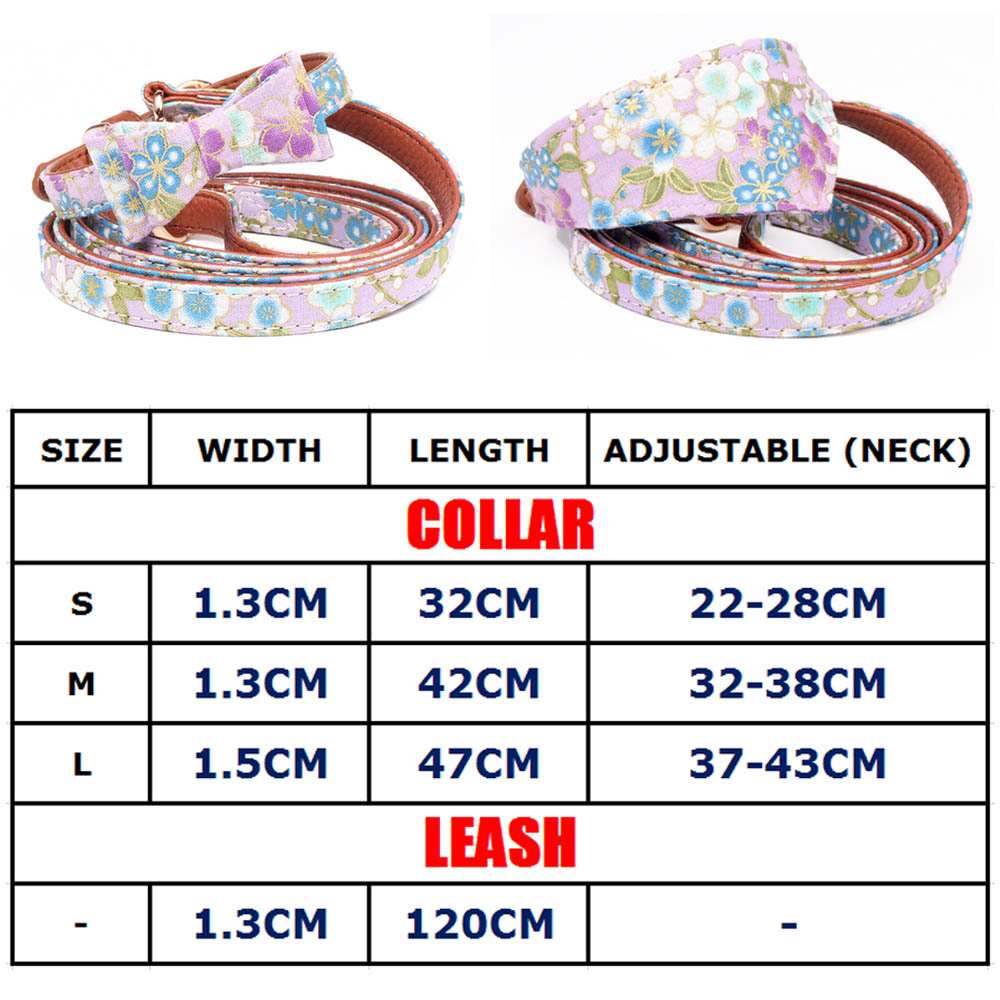2pcs set Small Dog Pet Leash Collar Set Puppy Cat Bow Tie Bandana Collar For Dog Chihuahua Pug Bulldog Cat arnes perro in Collars from Home Garden