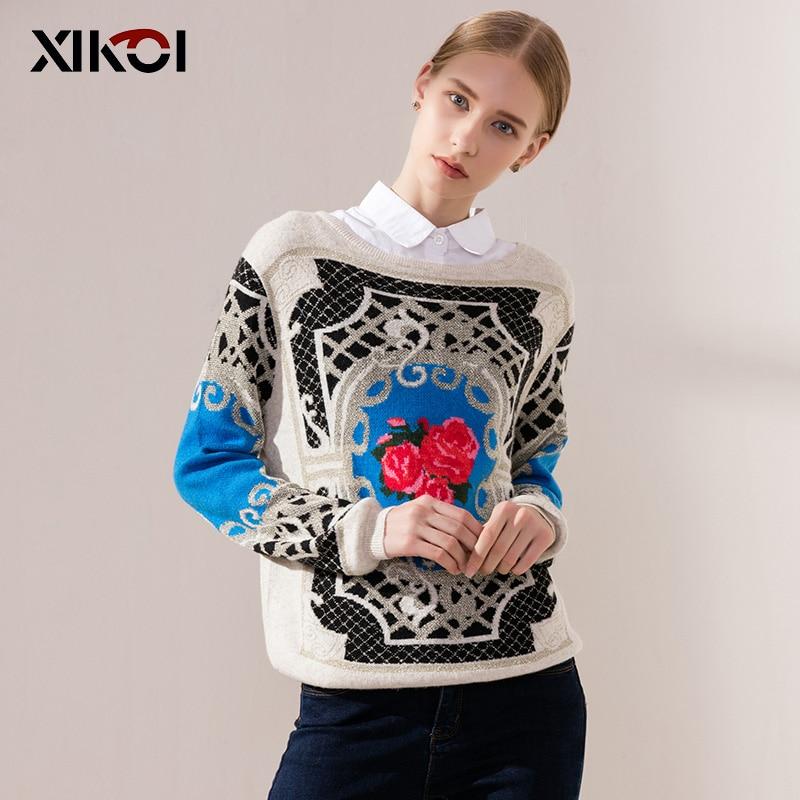 XIKOI πουλόβερ γυναικεία μόδα περιστασιακά πουλόβερ χαρακτηριστικό τριαντάφυλλο εκτύπωσης πουλόβερ O-λαιμό μακρύ μανίκι γυναικεία ένδυση κορυφές εξωτικό στυλ
