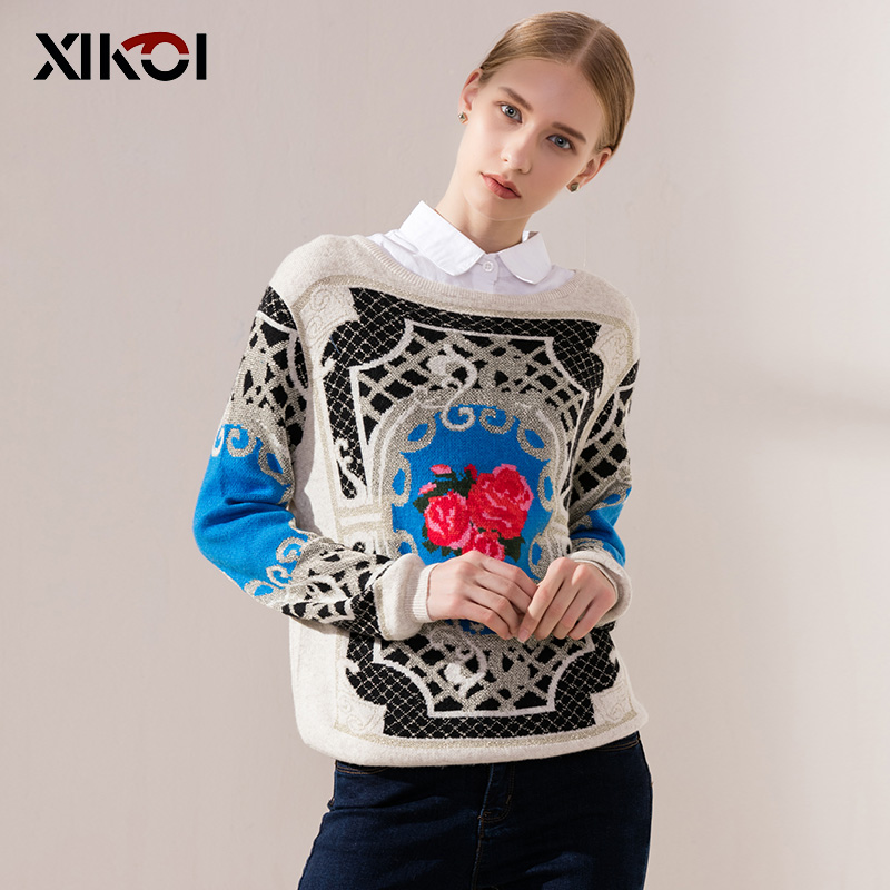 XIKOI Winter Sweater For Women Crop Pullovers Fashion Rose Print Sweaters O-Neck Jumper Long Sleeve Full Female Clothing Tops