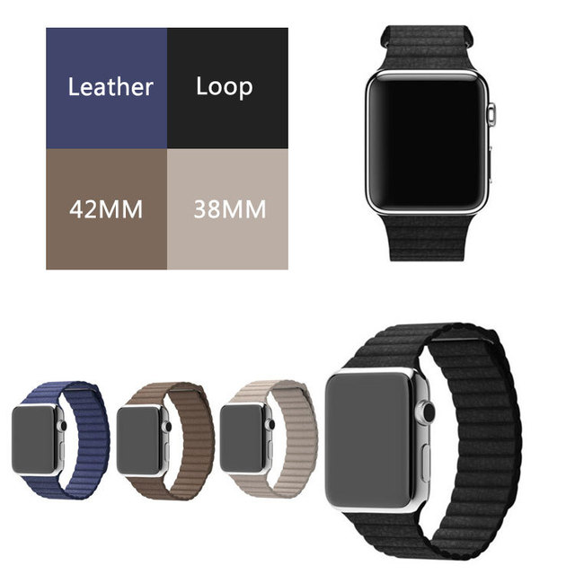 for apple watch leather loop in watchbands milanese magnetic loop leather 42mm strap Original genuine leather For iwatch band