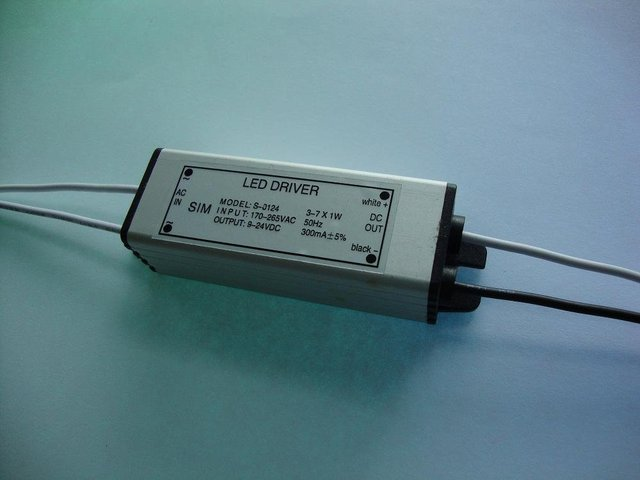 waterproof LED Constant current driver;3-7*1W;AC170-265 input;9-24VDC/310ma output;P/N:S-0124
