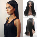 Best Black Wig for Black Women Silky Straight Hair Long Wig Lace Front Glueless Heat Resistant Synthetic Wigs with Middle Part