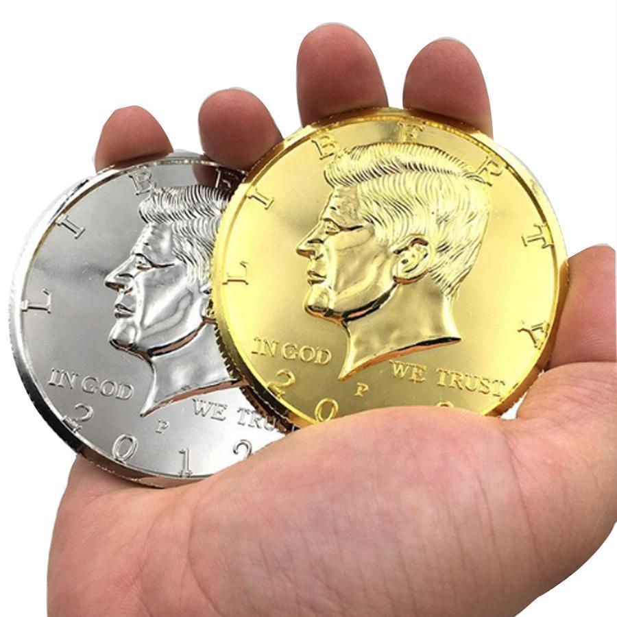 Silver/Gold Color Jumbo Magic Coin Half Dollar 73mm Top Quality Magic Tricks Magician Gimmick MSW1850