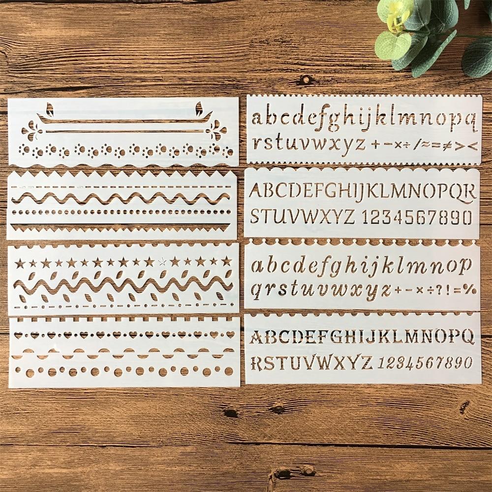 New 8Pcs/Set 18cm Alphabet Letters DIY Layering Stencils Painting Scrapbook Coloring Embossing Album Decorative Card Template