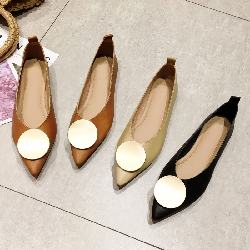 2020 Autumn Fashion Shoes Women Flats Woman Pointed Toe Slip-On Single Shoes Brand Office Ladies Shallow Footwear Females Black