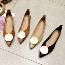 2020 Spring Autumn Women Flats Fashion Brand Woman Pointed Toe Slip On Office Ladies Single Shoes Shallow Footwear Females Black