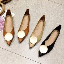 Chaussures plates pour femmes, chaussures à bout pointu de marque à la mode, à enfiler, simples, peu profondes, noires, printemps automne, collection 2020
