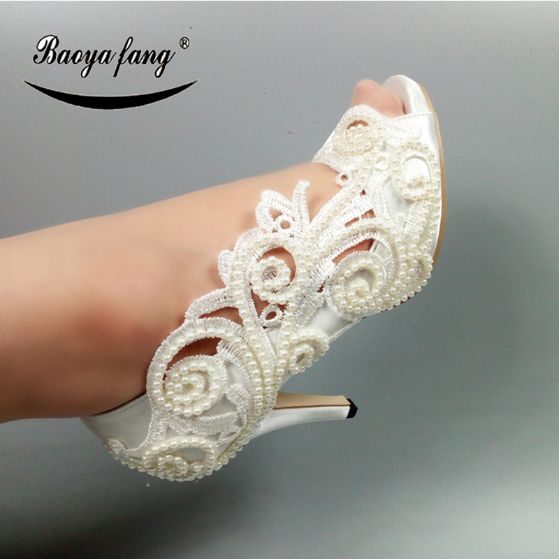 BaoYaFang New Lace shoes for woman Wedding shoes Bride High heels Open toe pearl Pumps fashion shoes Bride dress shoe
