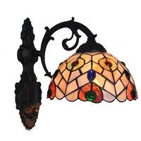 Classic Tiffany Wall Sconce E26/E27 European Retro Single Head Shell Aisle Lamp Bedside Corridor Balcony Wall Light Fixture W271
