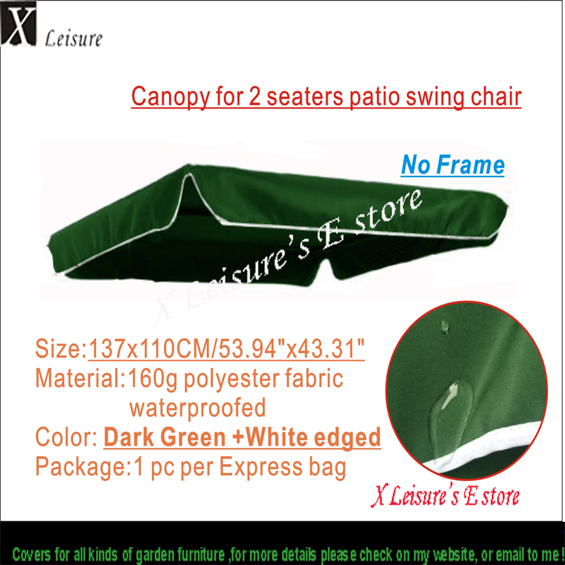 Canopy For 2 Seaters Patio Swing Chair,Dark Green Color Canopy,water  Proofed Polyester Canopy