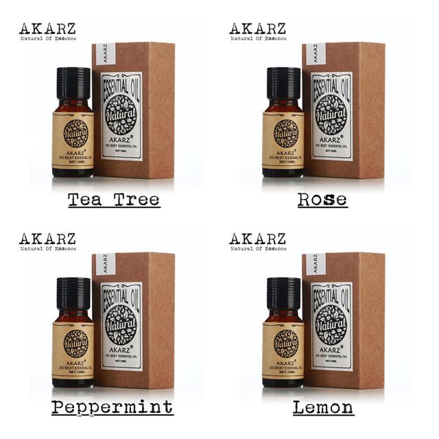 Akarz famosa marca pacote de óleo essencial puro da árvore do chá aumentou hortelã lemon para aromaterapia, massagem, Spa, banho 10 ml * 4